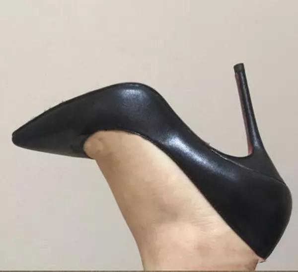 {Original Box}Classic Red Bottom High Heels,Brand Women Black Matte Leather Pointed Toes Tip Wedding Party Shoes,Womens Stiletto Dress Shoes