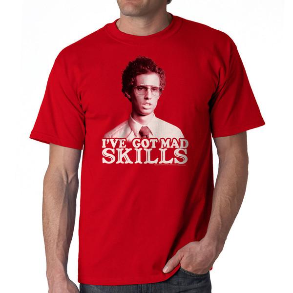 T-shirt Divertente Rosso Napoleon Dynamite Mad Skills Taglie NUOVE Taglie S-2XL Cotone T-Shirt Moda Spedizione Gratuita Manica Corta