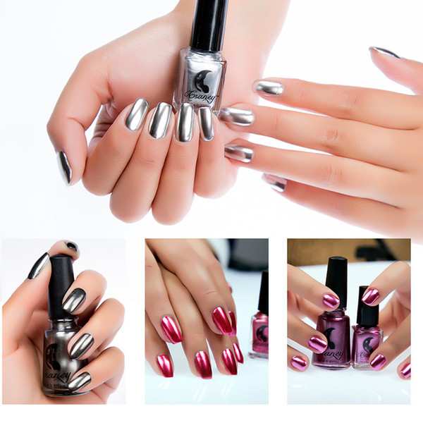 top popular Craney Brand 6ml Mirror Nail Polish Plating Silver Paste Metal Color Stainless Steel Mirror Silver Nail Polish for Nail Art 2021