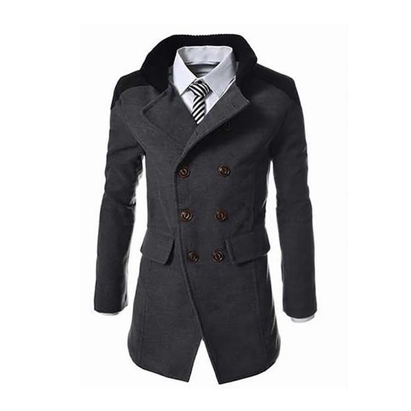 2018 новый английский стиль куртки для мужчин Осень Зима Мандарин воротник полушерстяные двубортный пальто толстые пальто 6Q2210 C18110701