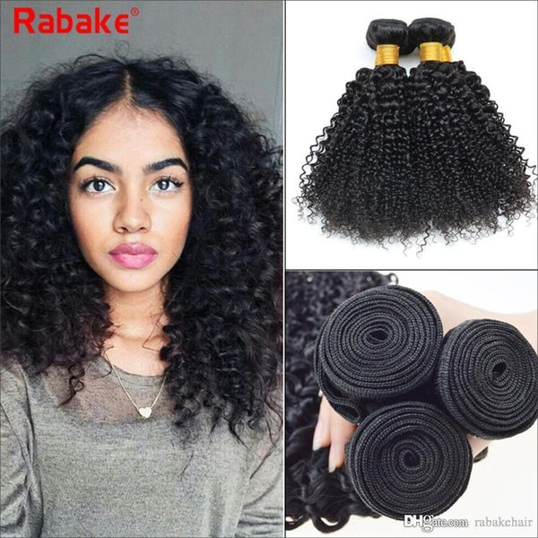 Rabake Kinky Curly Brazilian Virgin Hair Weave Bundles 100% Unprocessed Curly Human Hair Extensions 8-28inch 3/4pcs Wholesale Cheap Price