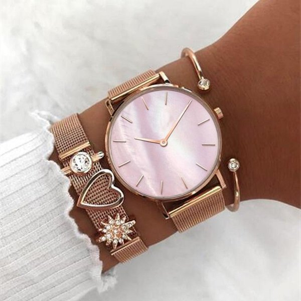 Mavis Hare The Perfect Match Mesh Charm Bracelet set include Seashell Wrist Watches and Crystal Cuff Bangle Rose Gold Mixed 8pcs