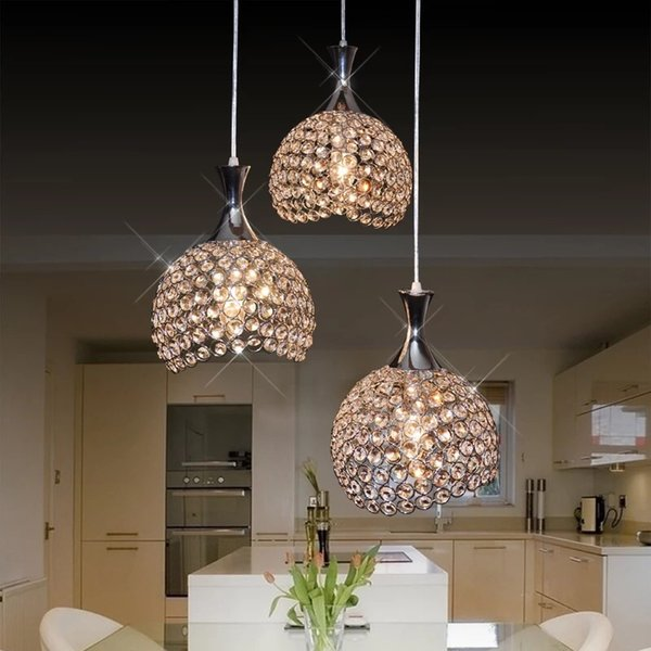 Modern cute single head 3 heads gold silver color LED crystal beaded pendant lights kitchen lights lustre for dinning room bedroom