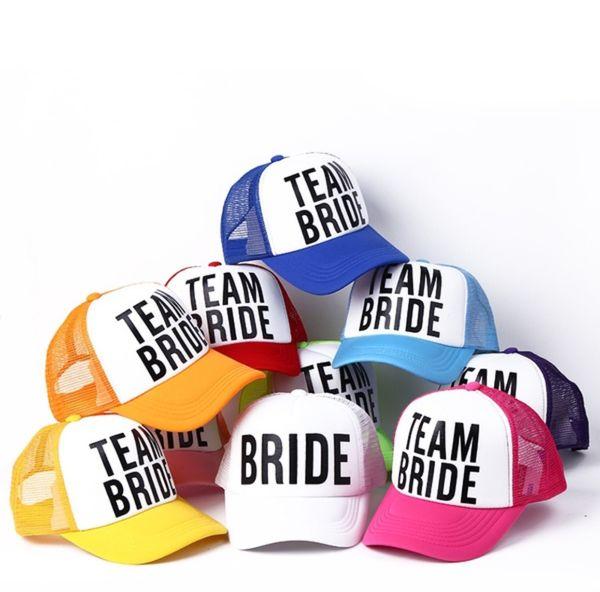 2018 azul real superior de la manera personalizada Novia a Equipo Bachelorette sombreros mujeres novia Preparewear del camionero gorros blancos gorra de béisbol del acoplamiento del verano