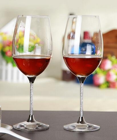 412ml wine cup glass goblet crystals rhinestones decorating wedding red wine glasses with stem filled rhinestones and crystal