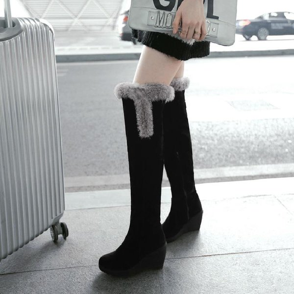 Sweet Warm Over The Knee Fur Boots Women Wedge Heels Thigh High Winter Shoes Lena ViVi 4 Colors 2018 Size 34 To 39