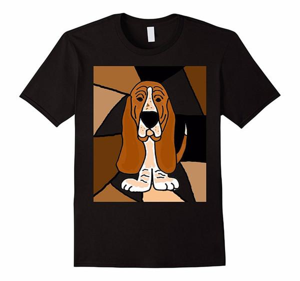 Мода Черный Хлопок Экипаж Шеи Сукно Короткие Мужские Вычурные Бассет Собака Абстрактный Футболка