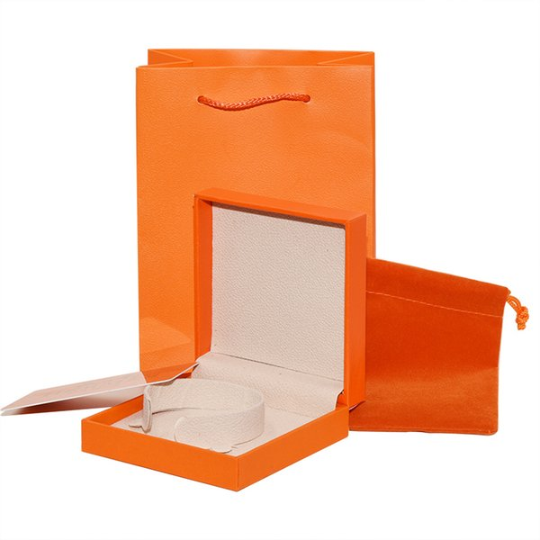 Luxury Brand Jewelry Original packaging Box set Paper bags Cards Orange H brand Bangle Bracelets retail Gift Box