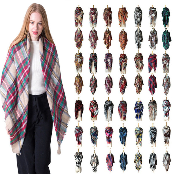 top popular Women Plaid Scarves Grid Tassel Wrap Oversized Check Shawl Tartan Cashmere Scarf Winter Neckerchief Lattice Blankets Scarves wraps T6C084 2021