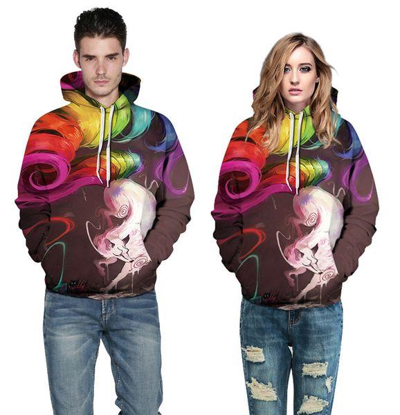 Wholesale free shipping Sweatshirts 3d Digital Colorful Fox Skull Print Pullovers Casual Hip Hop Tracksuit Man Women Couple Warm Hoodies
