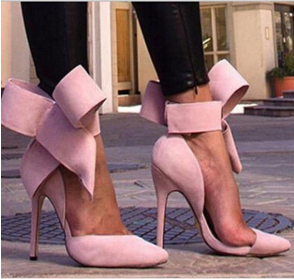 Toptan-Artı Boyutu Ayakkabı Kadınlar Büyük Papyon Pompaları 2015 Kelebek Sivri Stiletto Kadın Ayakkabı Yüksek Topuklu Süet Düğün Ayakkabı Zapatos De Mujer