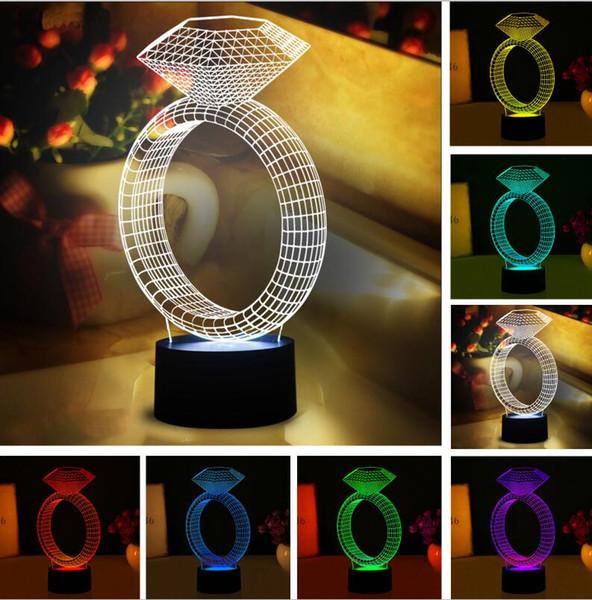 Luminaria New Romantic Diamond Ring LED Night Light 3D Figure Decor Lamp Wedding Birthday Couple Lovers Anniversary Valentine's Day Gifts