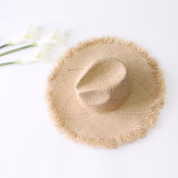 Summer beach Fashion wide Brim sun hats women new visor solid straw Hats caps seaside holiday seaside sunscreen big foldable hat Accessories