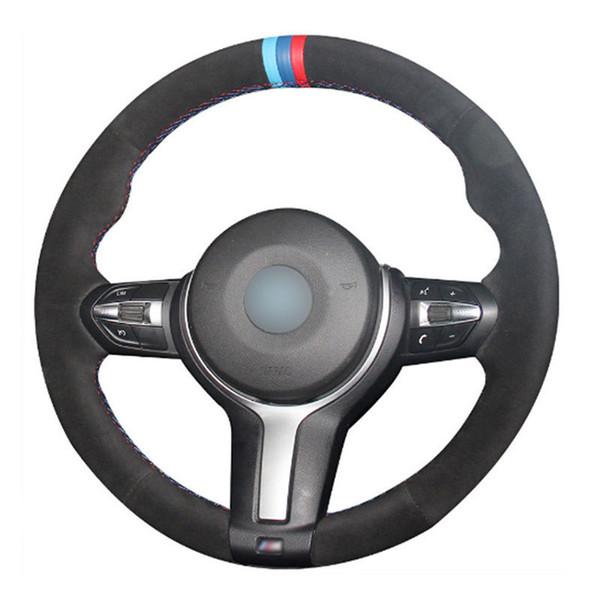 Top cuero volante cosido a mano en la cubierta de abrigo para BMW F22 M4 M5 M6 X5 X6