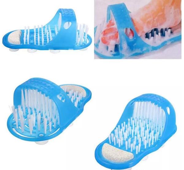Fácil Pés Foot Cleaner Easyfeet Foot Scrubber Escova Massageador Limpo Do Banheiro Chuveiro Limpo Azul Chinelos Spa Tratamento