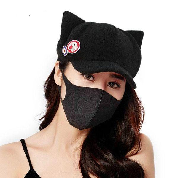 Fashion Set 2 In 1 Adult Women Novelty Anime Baseball Caps Cosplay Creative Japan Bones For Lady Autumn Winter Cute Cat Ear Hat