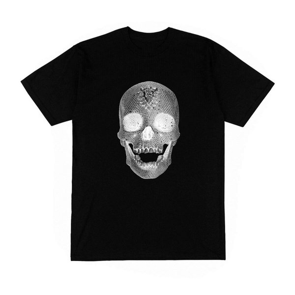 T-shirt Homme tete crane diamant mode fashion blingbling rap jayz rihanna drake Men Print Cotton O Neck Shirts Hipster