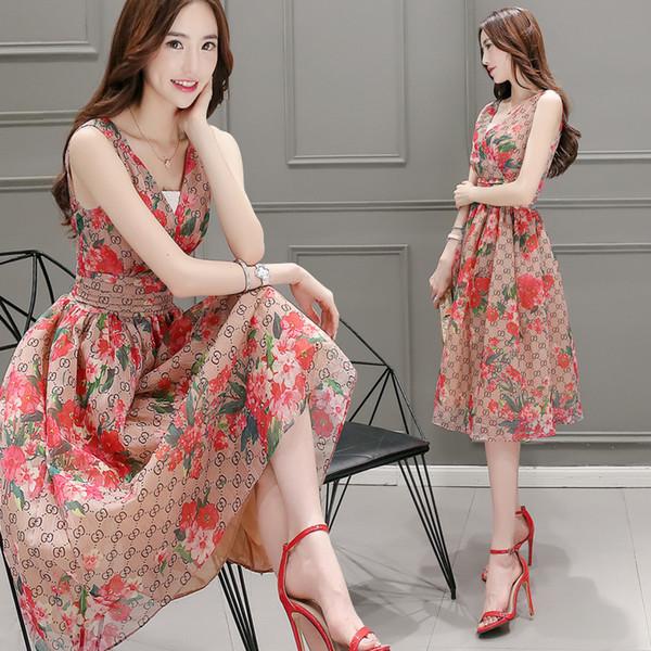 Saia de expansão de verão Casual moda feminina com decote em v sem mangas de cintura alta Floral impresso a linha senhoras vestidos