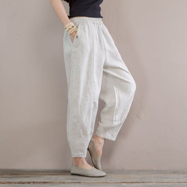 ce2b041b0d Women Summer Linen Pants Elastic Waist Solid Color Beige Pants For Female  Casual Ladies Vintage Trousers Canada 2019 From Zanzibar, CAD $62.39 | ...