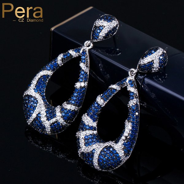Pera Vintage Prom Party Big Dangle Jewelry Blue And White Cubic Zirconia Crystal Luxury Long Drop Earrings For Best Friend E140 C18111901