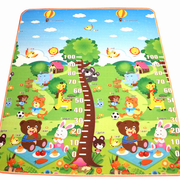 best selling 10 mm Thickness Double sides Cartoon Animal EVA Foam soft floor Carpet Rug Baby Crawling Mats 180*150CM Factory Price WHolesale