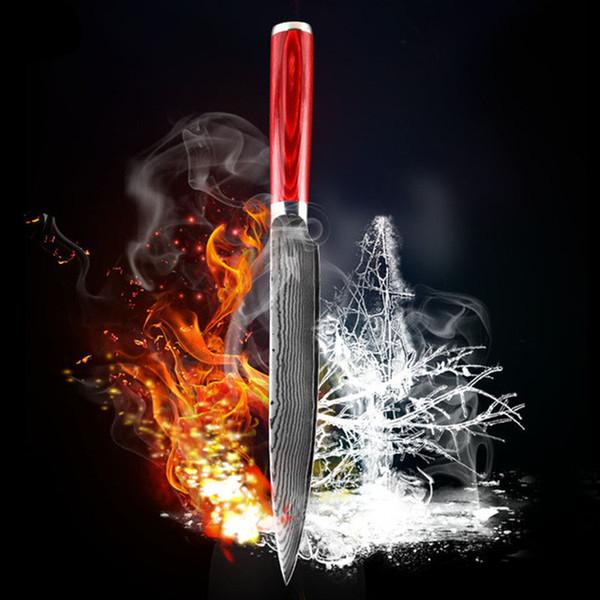 nueva madera de color hoja de acero Damasco manejar 8 pulgadas Damasco fileteado cuchillo 67 capas de Damasco cuchillo de la cuchilla