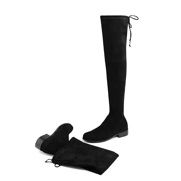 57 Cuir Noir Marron Le Confortables Mode Automne Plates Femmes Femme De113 Acheter Daim Genou Chaussures Chaussures Hiver Gris Et Bottes Hautes Sur NOPZ0kX8nw