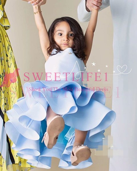 2019 New Light Blue Flower Girls Dresses Ruffles Tiered Skirts Hi Low First Communion Dresses Girls Pageant Gown Custom Made