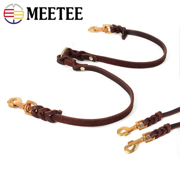 high quality leather copper hook double traction leather New products pet traction belt wholesale in stock