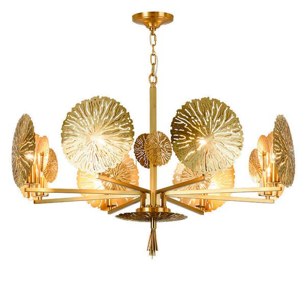 Acheter Lustre En Cuivre Postmoderne Lumière Luxe Chambre Salle À Manger Salon Lampe Lampe De Cuivre Lotus Feuille Simple Concepteur Créatif Lampes De