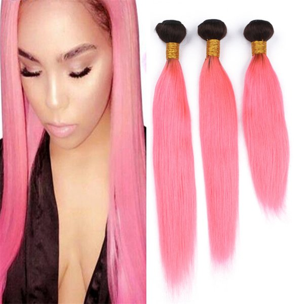 Black to Pink Ombre Straight Human Hair 3 Bundles Silky Straight Two Tone 1B Light Pink Ombre Indian Virgin Hair Weave Weft Extensions