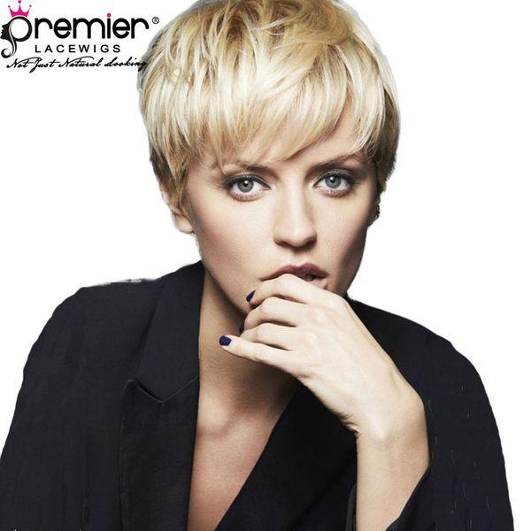 Premier 613 Blonde Lace Wigs Affordable Machine Made Wigs 100% Brazilian Virgin Human Hair Short Cut For American