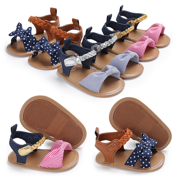 Newest Woven Summer First Walker Baby Girls Shoes Mix Colors Bowknot Footwear Newborn Infant Toddler Soft Sole Prewalkers Shoe