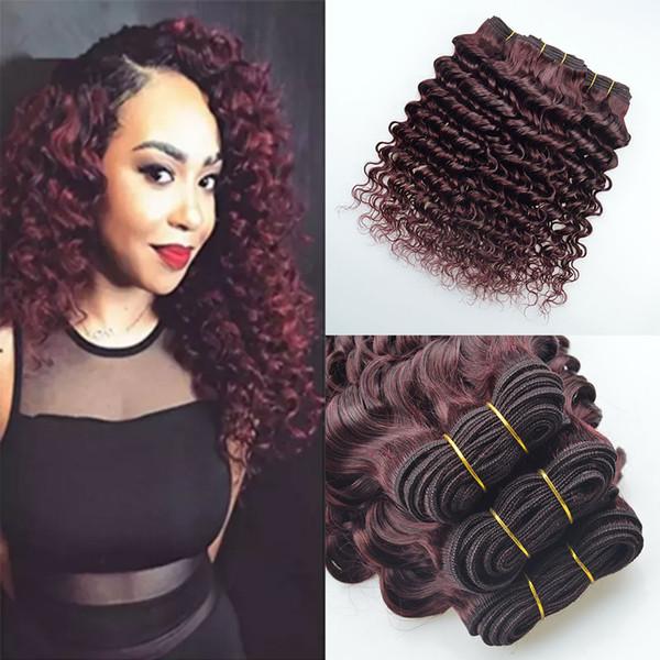 Burgundy Deep Wave Brazilian Hair 4 Bundles Wine Red 99j Loose Deep Wet And Wavy Human Hair Extensions