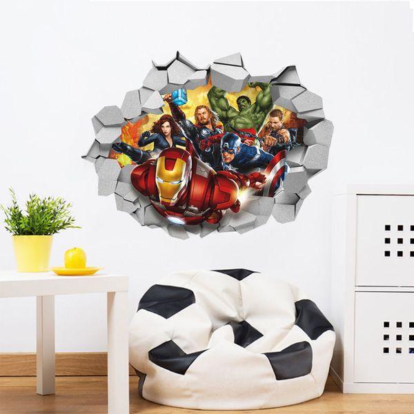 3D The Avengers décoration de pépinière DIY enfants chambre sticker mural amovible papier peint autocollant mural livraison gratuite