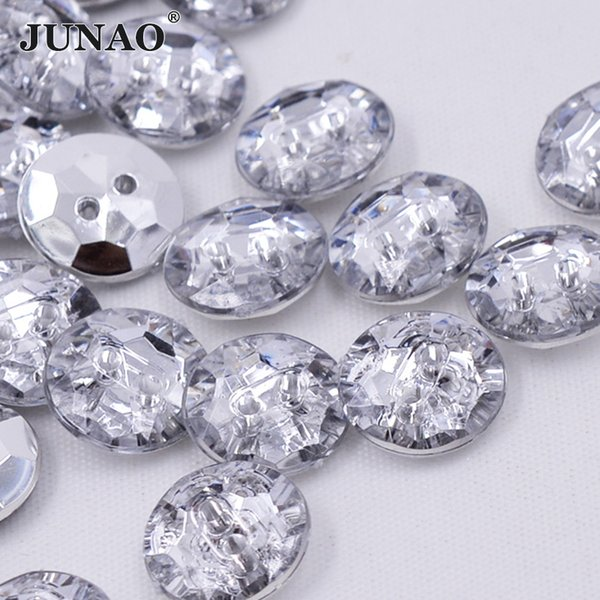 JUNAO 100pcs 13mm Sewing Clear White Rhinestones Buttons Round Acrylic Button Flatback Crystal Stones For DIY Clothes Decoration