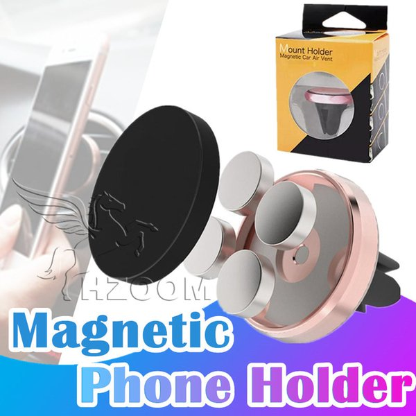 Car Magnetic Air Vent Mount Mobile Smart Phone Holder Hand free Dashboard Phone Metal Stand For Cellphone iPhone X 8 Samsung S9 Plus