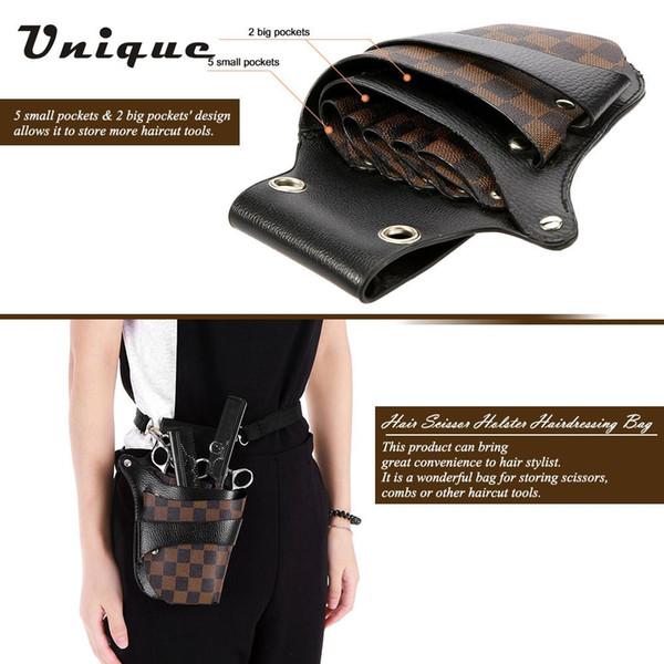 PU Leather Hair Scissor Holster Hairdressing Bag Pouch Holder for Hair Stylist Rivet Clips Waist Shoulder Belt Included