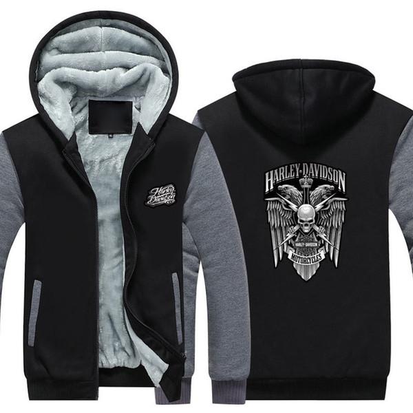 Invierno Harley Logo davidson Hombres mujeres Sudaderas con capucha cálidas Fleece ropa de otoño sudadera con cremallera chaqueta con capucha polar EE. UU.