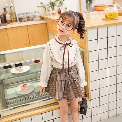 Cute Girls Dress Preppy Style Silm A-line Skirt For Princess Wear T-Shirt Plaid Skirt For Baby Girl Summer Kids