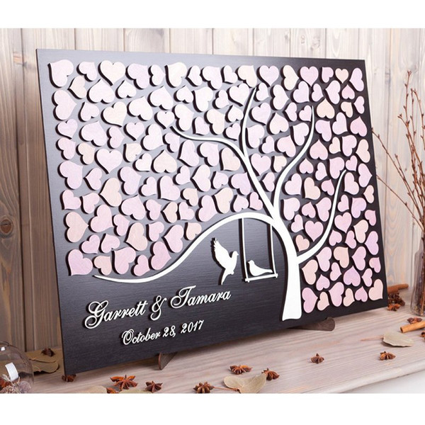 RusticCustom 3D Wedding Guest Book Alternative Wood,Unique Guestbooks Tree of Love Birds,Personalized Guestbook Sign In Ideas