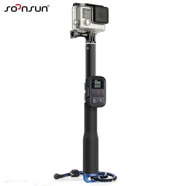 wholesale 37'' For GoPro Extendable Handheld POV Pole Telescopic Tripod Monopod + Wifi Remote Holder Clip for Go Pro Hero 6 5 4 3+