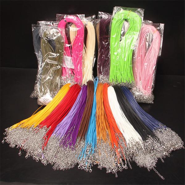 50 unids / lote 14 colores Cordones de Langosta collar de Cordón de Cuero Dia 1.5mm Collar de Cordón de Cera de Algodón Coreano Accesorios de La Joyería DIY