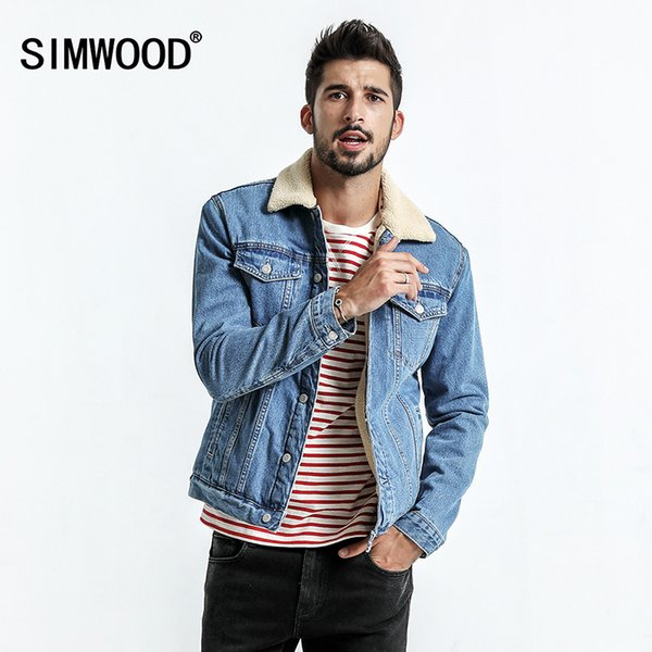 giacca jeans con pelo uomo