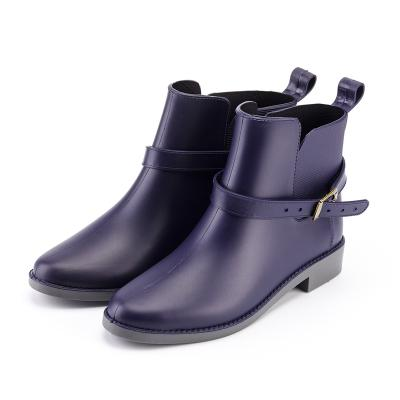 Rain shoe female fashion lovely adult waterproof and antiskid short tube water shoe, high quality belt buckle water boots