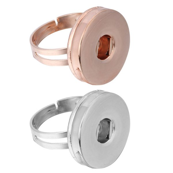 Anelli a scatto semplici Argento Oro rosa 18mm Ginger Snap Button Anelli a fascia regolabili Gioielli per donna Uomo Anelli