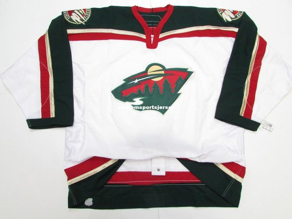Cheap custom MINNESOTA WILD AWAY TEAM ISSUED 6100 HOCKEY JERSEY stitch add any number any name Mens Hockey Jersey XS-5XL