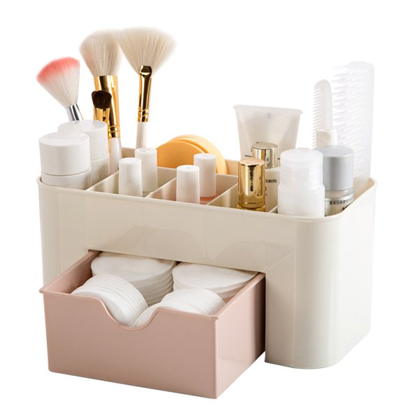 Cosmetics Storage Box Makeup Organizers Plastic Tabletop Creative Sorting Storage Boxes Drawer Simple Style High Quality 3 Colors NNA742