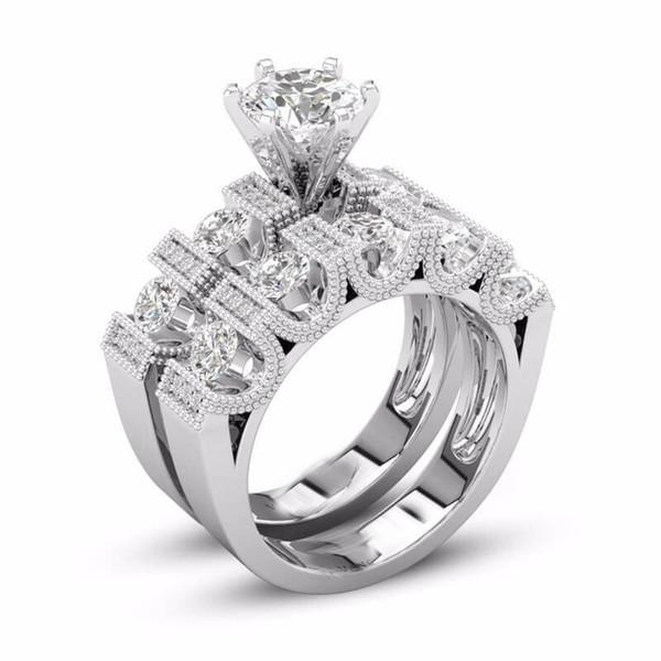 Unique Choucong Vintage Fashion Jewelry Couple Rings 925 Silver Fill Retro Eternity Round Cut White Topaz CZ Diamond Women Bridal Ring Set
