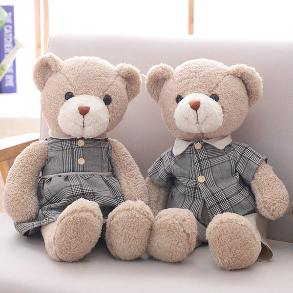 38cm/50cm Cute Lovers Bear Plush Toys Stuffed Lovely Male And Female Teddy Bear Couples Dolls Kawaii Birthday Gift for Girls